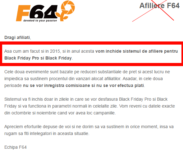 Afiliere F64 Black Friday