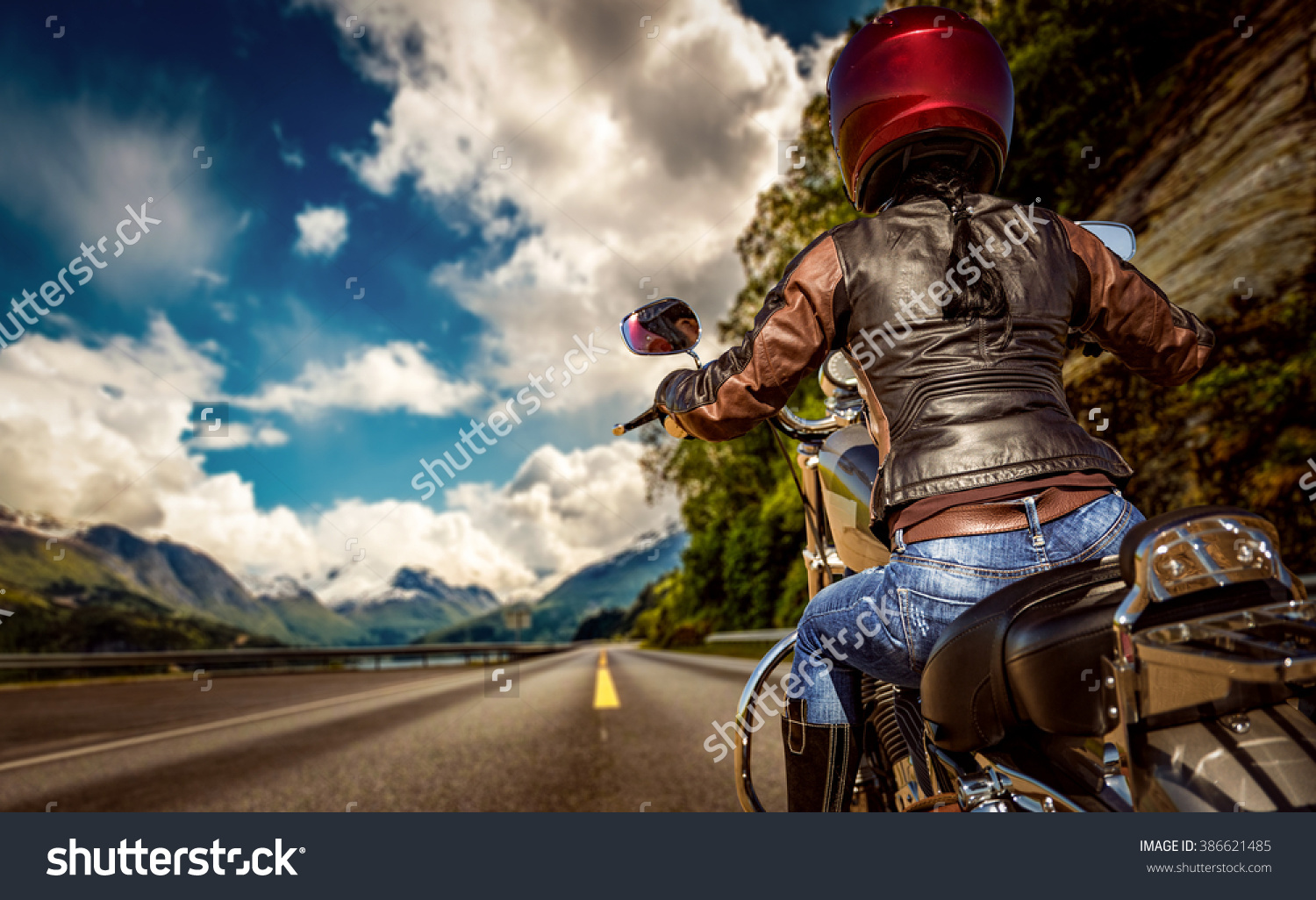 Woomen on the motorcycle